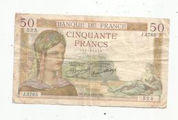 Billet ,France , Cerès ,  50 ,cinquante Francs ,25-2-1937 , 2 Scans - 1871-1952 Anciens Francs Circulés Au XXème