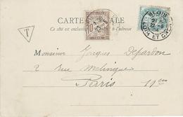BLANC N°111 CARTE TAXÉE Oblitération Blois 22 Mai 1904 - Taxe Banderole N°29 Paris 23 Mai - CP Amboise - 1900-29 Blanc