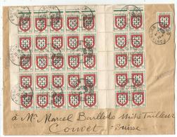 BLASON 50C LIMOUSIN BLOC DE 42+1 LETTRE PONTARLIER 4.4.1954 DOUBS POUR COUVET SUISSE TARIF FRONTALIER RARE - 1941-66 Armoiries Et Blasons