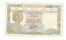 Billet ,France , La Paix ,  500 ,cinq Cents Francs ,16-5-1940 , 2 Scans ,frais Fr 1.95 E - 1871-1952 Gedurende De XXste In Omloop
