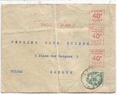 N° 111 PERFORE DP + EMA 40CX3 A209 PARIS 14 24 JUIN 1926 LETTRE POUR SUISSE AU TARIF - Frankreich
