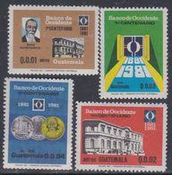 Guatemala PA N° 749 / 52 XX : Centenaire De La Banque De L'Occident. Les 4 Valeurs Sans Charnière, TB - Guatemala