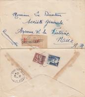 LETTRE. ALGERIE. 1945. RECOMMANDE CONSTANTINE. POUR NICE. AFFRANCHISSEMENT MIXTE AVEC LE N° 725  / 2 - Algeria (1924-1962)