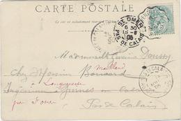 BLANC N°111 Ambulant CARPENTRAS À SORGUES 12 Août 1902 Pour Guines-en-Calaisie 14 Août Puis Saint Omer 15 Août - 1900-29 Blanc