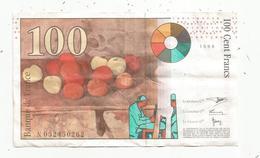 Billet, France , Cézanne , 100 ,  Cent Francs ,  1998 , 2 Scans - 1992-2000 Ultima Gama