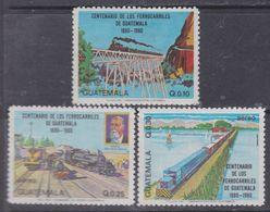 Guatemala PA N° 762 / 64 XX : Centenaire Des Chemins De Fer Du Guatelama, Les 3 Valeurs Sans Charnière, TB - Guatemala