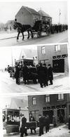 3 Photos Postmortem - Enterrement Avec Un Attelage - Personnes Anonymes