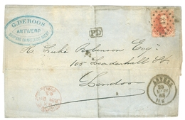 1865 Belgium Commercial Cover Anvers To London 40c Red. Ambulant Ouest 2 Pmk. - Postmark Collection
