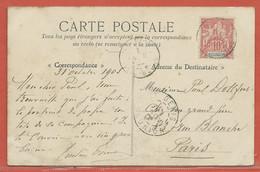 REUNION CARTE POSTALE AFFRANCHIE DE 1905 DE HELL BOURG POUR PARIS FRANCE - Réunion (1852-1975)