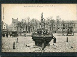 CPA - Karten Bost - GUINGAMP - La Fontaine Et La Place Du Centre, Animé - Attelage  (dos Non Divisé) - Guingamp