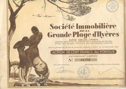 SOCIETE IMMOBILIERE DE LA GRANDE PLAGE D'HYERES-- ACTION ILLUSTREE DE 100 FRS -ANNEE 1927 - Tourisme