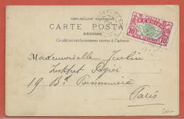 REUNION CARTE POSTALE AFFRANCHIE DE 1910 DE SAINT DENIS POUR PARIS FRANCE - Réunion (1852-1975)