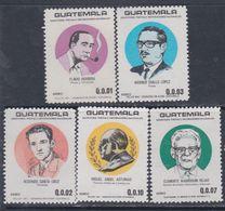 Guatemala PA N° 832 / 36 XX .Ecrivains, Poètes Et Historiens Guatémaltèques ( II ), Les 5 Vals Sans Charnière, TB - Guatemala
