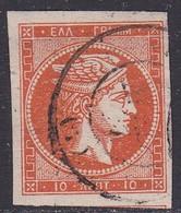 GREECE 1875-80 Large Hermes Head On Cream Paper 10 L Orange Vl. 64 - 1861-86 Hermes, Groot