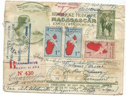 ENTIER 50C MADAGASCAR ENVELOPPE 50C+PA 1FR50X2+1FR25 TANANARIVE 20 NOV 1935 REC AVION VIA ELISABETH BRAZZA ALGER VOSGES - Madagascar (1889-1960)