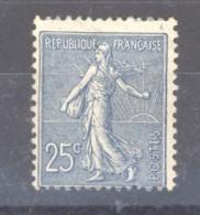 0ob  0511  -  France  :  Yv  132a  *   Bleu Foncé - 1903-60 Semeuse A Righe