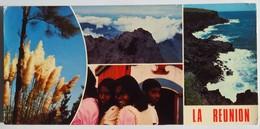 Carte Postale Grand Format : LA REUNION En 4 Vues : Jeunes Filles, Fleurs, Les Hauts, Côte Sauvage à L'Ouest - Saint Pierre