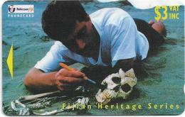 Fiji - Tel. Fiji - Archeological Heritage - Skull - 25FIB - 1998, 3$, 42.500ex, Used - Fiji