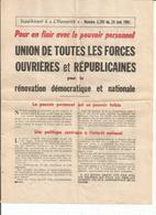 Supplement A L'humanité N 5205 Du 24 Mai 1961 - Vieux Papiers