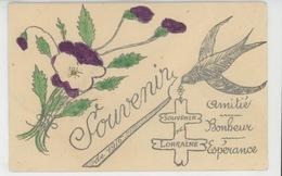"""GUERRE 1914-18 - Jolie Carte Fantaisie Hirondelle Pensée Croix De Lorraine """"Souvenir De 1916 """"- Amitié Bonheur Espérance - Oorlog 1914-18"""