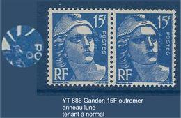 "FR Variétés YT 886 Paire "" Gandon 15F Outremer "" Neuf** Anneau Lune TAN - Errors & Oddities"