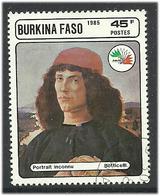 Burkina Faso 1985 Painting By Botticelli (1445-1510) Italian Painter, Young Man, Mi 1062, Cancelled - Burkina Faso (1984-...)