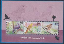 India 3135/37 - Vulnerable Birds 2017 M/S - MNH - Uccelli Canterini Ed Arboricoli