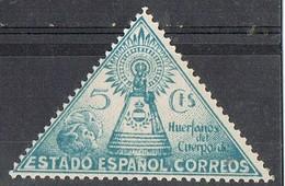 Sello Beneficencia, Guerra Civil VIRGEN Del PILAR, Triangular 5 Cts Azul, Edifil Num 20 ** - Wohlfahrtsmarken