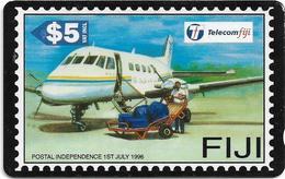 Fiji - Tel. Fiji - Postal Independence - Postal Aircraft - BCFJC - 1996, 5$, Used - Figi