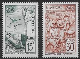1953  Maroc N°  325 326  Nf** MNH  . Oeuvres Sociales De L'Armée. Remparts De Mogador Et Cavaliers Maures. - Maroc (1891-1956)