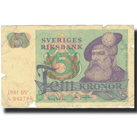 Billet, Suède, 5 Kronor, 1965-1981, KM:51d, B - Suède