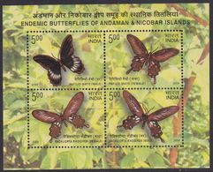 India 2260/63 - Endemic Butterflies 2008 M/S - MNH - Farfalle