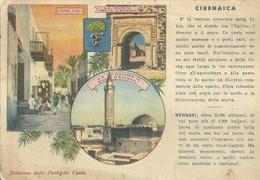 "6546 ""CIRENAICA-EDIZ. DELLE PASTIGLIE VALDA""3 VEDUTE ILLUSTR.-PUBBLICITA' VALDA SUL RETRO-CART. POST. ORIG. NON SPED. - Libia"