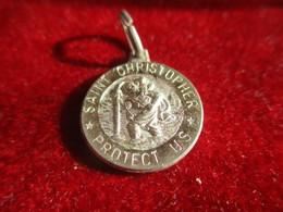 Mini-Médaille Religieuse Ancienne/Saint Christophe/Saint Christopher Protect Us/Aluminium/Italy/Mi- XXéme    CAN822 - Godsdienst & Esoterisme