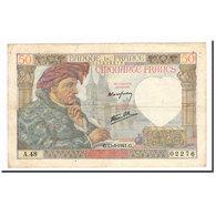 France, 50 Francs, Jacques Coeur, 1941, 1941-03-13, TB+, Fayette:19.7, KM:93 - 1871-1952 Anciens Francs Circulés Au XXème