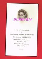 Avis De Décès  Titre De Noblesse Mme Marie Thérèse De MOLETTE DE MORANGIES Comtesse De LAUSANNE - Décès