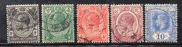 XP1794 - STRAITS SETTLEMENTS MALACCA 1918 , Serie Usata Yvert N. 160/164 (2380A) Fil MultiCA - Straits Settlements