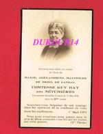 Avis De Décès  Titre De Noblesse Mme Marie Du BREIL DE LANDAL Comtesse GUY HAY DES NETUMIERES LAVAL 1940 - Décès
