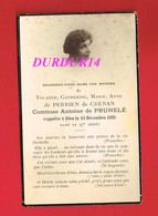 Avis De Décès  Titre De Noblesse Mme Yolande De PERRIEN DE CRENAN Comtesse Antoine De PRUNELÉ - Décès