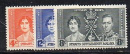XP2178 - STRAITS SETTLEMENTS MALACCA 1937 , Serie Yvert 220/22  *  Linguella (2380A) - Straits Settlements