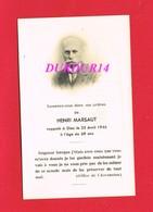 Avis De Décès  M. Henri MARSAUT 1946 - Décès