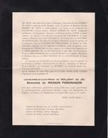 LA COMELLE Château De MONTPEROUX Louise Baronne De MENGIN FONDRAGON 75 Ans 1929 Faire-part Mortuaire 2 Volets Complets - Décès