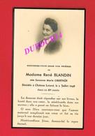 Avis De Décès De Mme René BLANDIN Née Suzanne OBERTHUR & Château LETARD - Décès