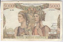 Billet 5000 Francs France Terre Et Mer 3-11-49 J - TB+ - 1871-1952 Frühe Francs Des 20. Jh.