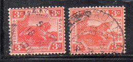 XP2572 - STRAITS SETTLEMENTS MALACCA 1904 , Yvert  N. 34+34 (crown Right MultiCA) Usati (2380A) - Straits Settlements