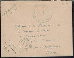 Fr - Détachement De Division Base Aérienne De Telergma - Enveloppe En F.M. Pour Casablanca  23-6-54 - B/TB - - Guerra D'Algeria