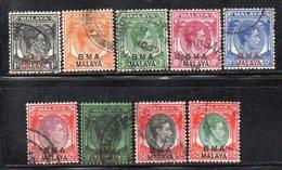 Q190 - BMA STRAITS SETTLEMENTS MALACCA 1945 , Nove Valori Usati (2380A) - Malaya (British Military Administration)