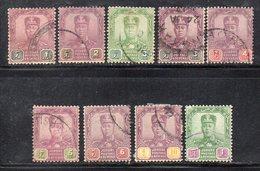 Q192 - JOHORE MALAYSIA 1921 , Nove Valori Usati (2380A) Fil MultiscriptCA - Johore