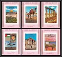 0024/ Umm Al Qiwain Deluxe Blocs ** MNH Michel N° 1687 / 1692 Arabian Landscapes Mosquée Tirage Rose Non Dentelé Imperf - Umm Al-Qiwain