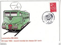 CPM  TRAINS. Locomotive BB-9004, 29 Mars 1955 : Record Mondial De Vitesse 331 Km/h. ...T242 - Trains